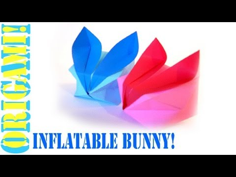 Origami Daily - 058: Easy Inflatable Bunny Rabbit (Waterbomb Base) - TCGames [HD]