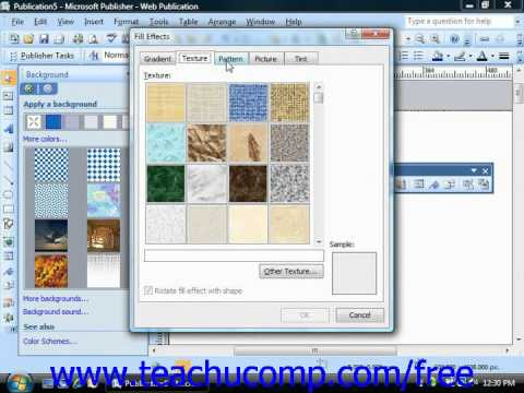 Publisher 2003 Tutorial Applying Background Schemes Microsoft Training Lesson 10.5