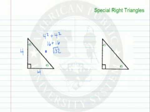 Special Right Triangles 45-45-90