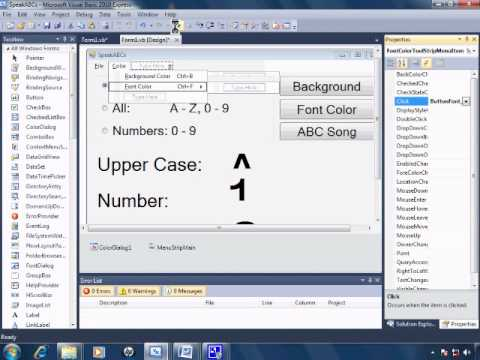 Visual Basic 2010 Express Tutorial 22 - Adding A Menu - SpeakABCs 6/11