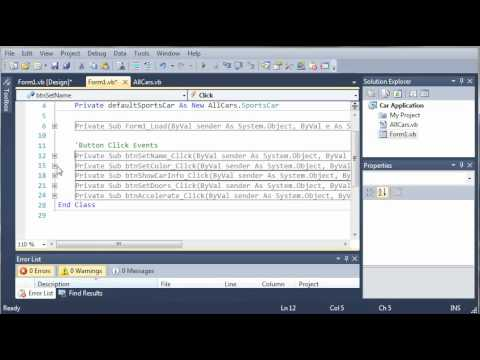 Visual Basic Tutorial - 111 - Car Part 6   More On Inheritance