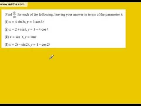 Parametric Differentiation Part 3 Trig examples (differentiating a parametic equation core 4)