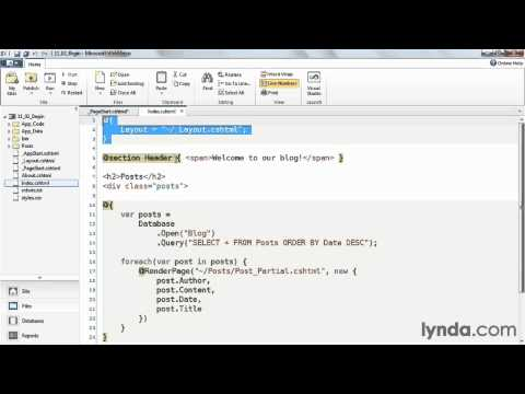 WebMatrix tutorial: How to apply common code | lynda.com