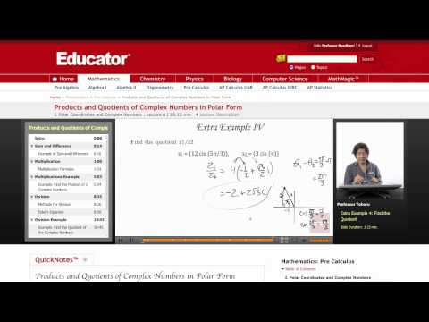 Pre-Calculus: Products and Quotients of Complex Numbers in Polar Form