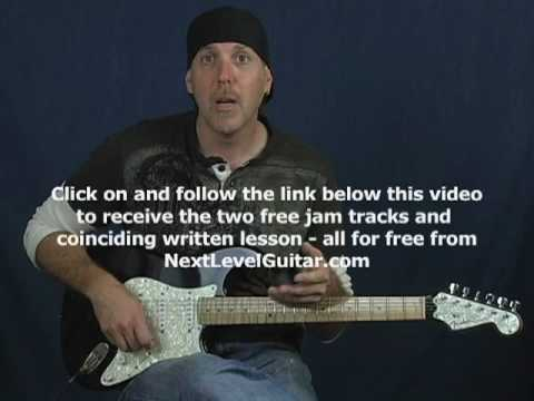 Play guitar Blues lick of week minor pentatonic blues scale on fender strat and free jam tracks