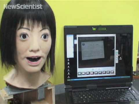 Singing robotic head reads music