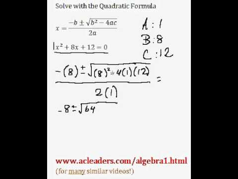 Quadratic Formula - Solving for 'x' in a trinomial expression. EASY!!! (pt. 2)