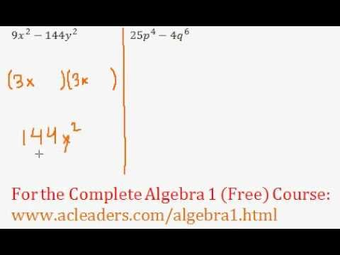 Polynomials - Difference of Two Squares Question #7
