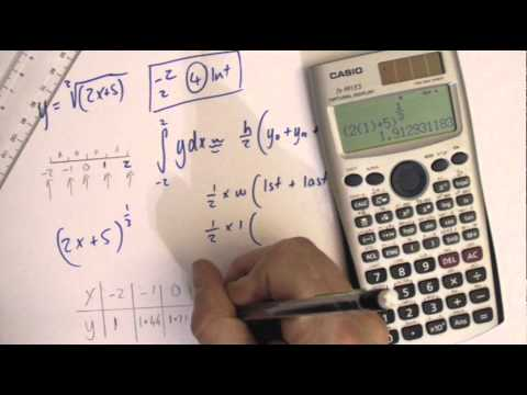 Trapezium rule example 1 core 2 A level maths calculus integration trapezoid rule