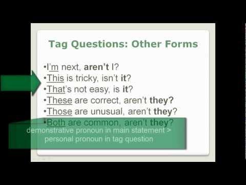 Tag Questions - Lesson 29, Part 2 - English Grammar (no captions)