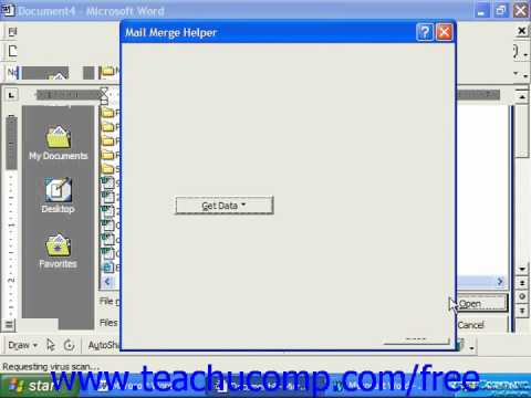 Word 2003 Tutorial Using the Mail Merge Helper 2000 & 97 Microsoft Office Training Lesson 19.3