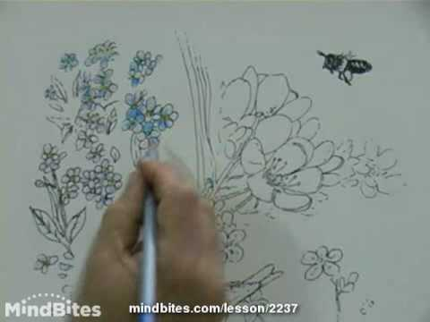 Painting a Botanical Scene: Using watercolor pencils over pen & ink