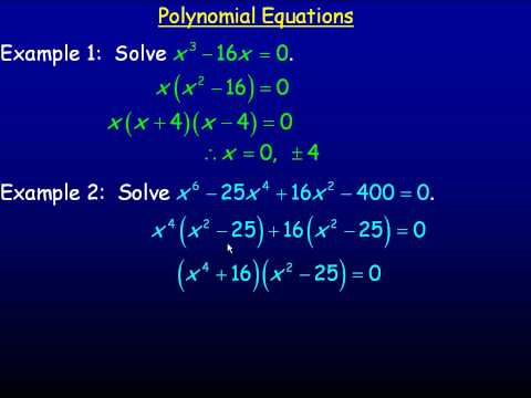 Polynomial Equations Part 1