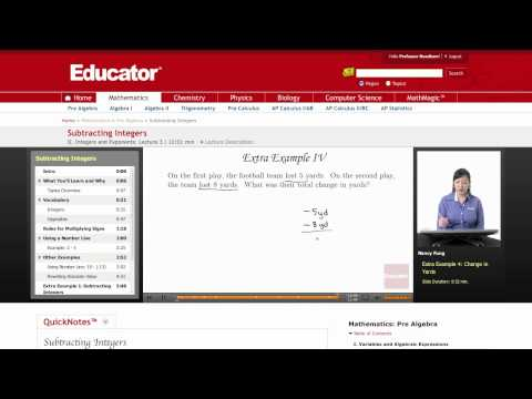 Pre Algebra: Subtracting Integers