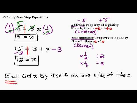Solving One-Step Equations Part 2 - Multiplication Property of Equality