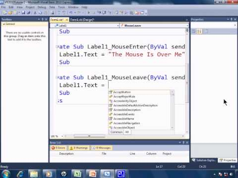 Visual Basic 2010 Express Tutorial 2 - Events