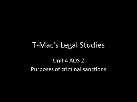 VCE Legal Studies - Unit 4 AOS2 - Purposes of criminal sanctions