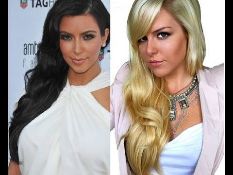 Side-Swept Soft Curls Kim Kardashian Hairstyle
