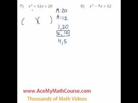 Polynomials - Factoring Trinomials #7-8
