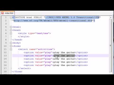 XHTML and CSS Tutorial - 42 - Drop Down Lists
