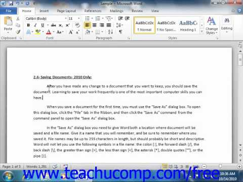 Word 2010 Tutorial Selecting Text Microsoft Training Lesson 2 .10