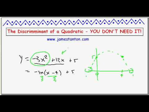 "The Discriminant of a Quadratic: YOU DON""T NEED IT!"