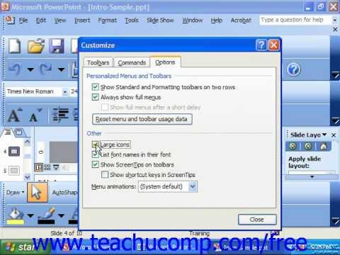 PowerPoint 2003 Tutorial Setting Toolbar & Menu Bar Options Microsoft Training Lesson 29.3