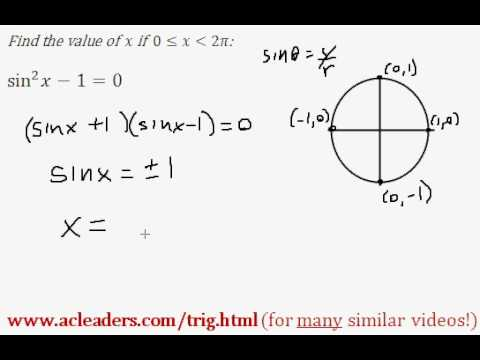 TRIGONOMETRY - solving an equation and finding 'x' between 0 and 2pi - EASY!!! (pt. 2)