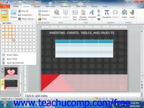 PowerPoint 2010 Tutorial Inserting Tables Microsoft Training Lesson 17.2