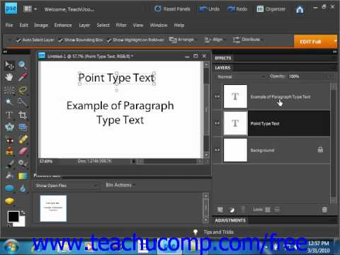 Photoshop Elements 9.0 Tutorial Text Basics Adobe Training Lesson 11.1