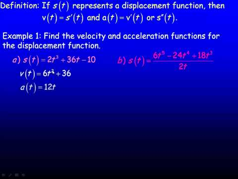 Velocity, Acceleration and Second Derivatives.mp4