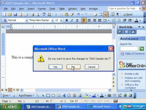 Word 2003 Tutorial Closing the Document Microsoft Training Lesson 2.2