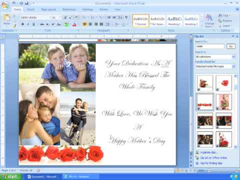 Word 2007 Tutorial 21 (2/2) Making Custom Cards for Mothers Day, Birthdays, and Other Occasions