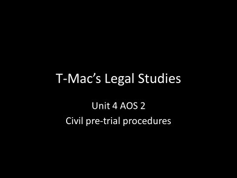 VCE Legal Studies - Unit 4 AOS2 - Civil pre-trial procedures