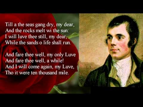 Robert Burns ~ A Red, Red Rose  poem with text