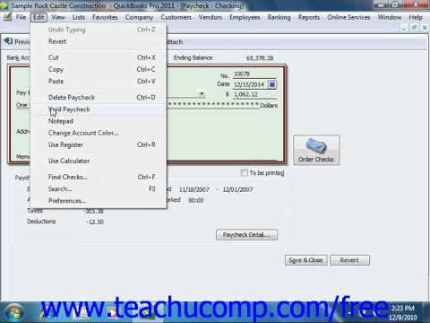 QuickBooks 2011 Tutorial Voiding Paychecks Intuit Training Lesson 20.7