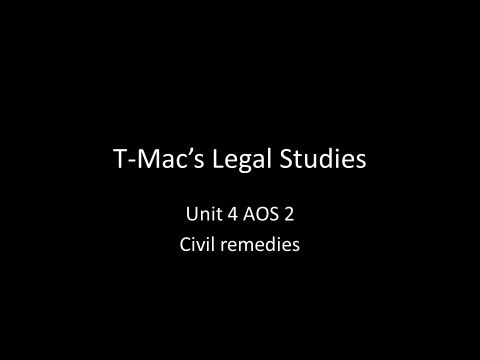 VCE Legal Studies - Unit 4 AOS2 - Civil remedies