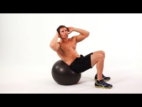 Swiss Oblique Crunch on Exercise Ball | Home Ab Workout for Men