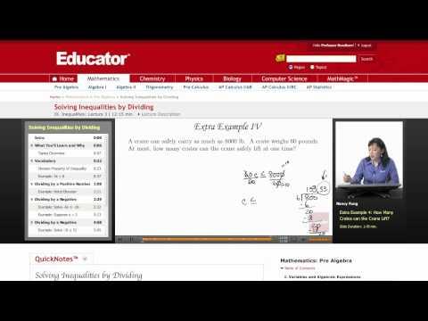 Pre Algebra: Solving Inequalities by Dividing