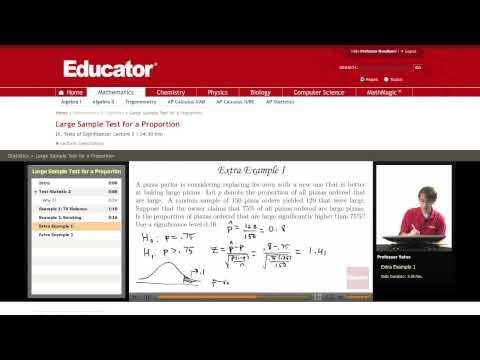 Statistics: Sample Test for a Proportion