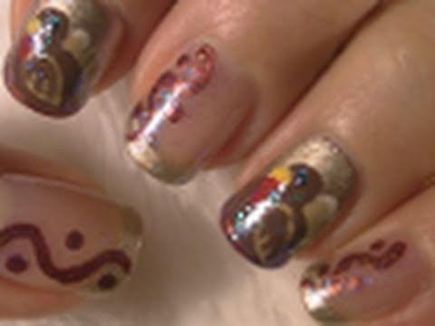 Thanksgiving Nail Art Tutorial / Arte para las uñas para el dia de accion de gracia