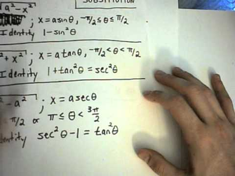 Trigonometric Substitution Example 1 Part 1