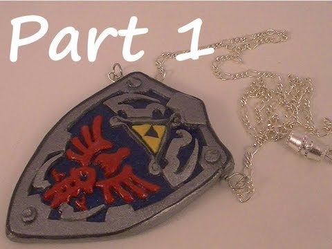 Polymer Clay Necklace - Links Shield from Legend of Zelda (Part 1)