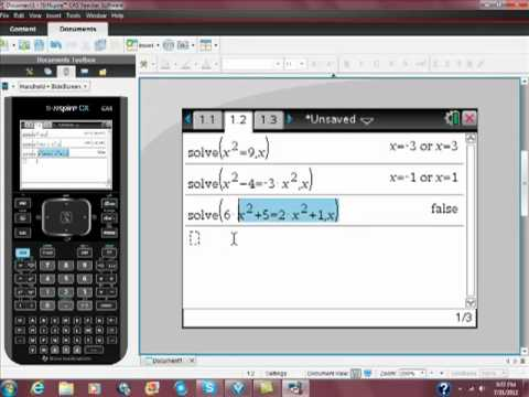 Using Your Ti-Nspire CAS to Solve Quadratic Equations