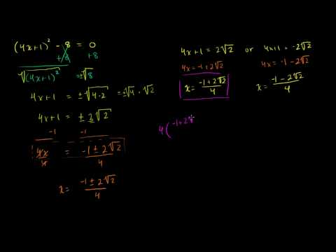 Solving quadratics by taking square root